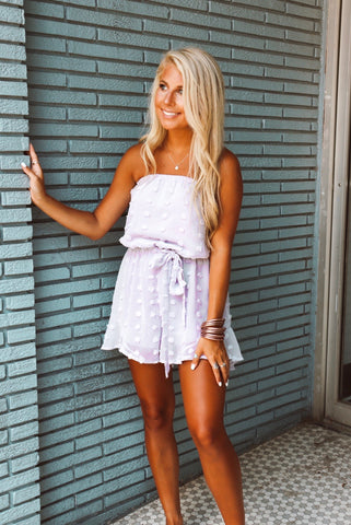 On My Mind Strapless Lavender Tie Romper