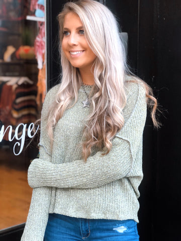 Sweet and Sage Green Knit Sweater
