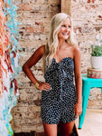Take Me Out Black Print Romper