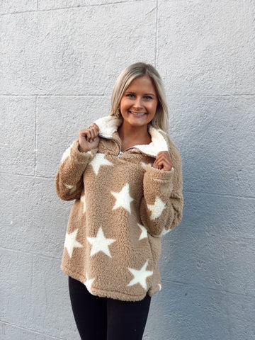 Trips To Space Taupe Star Pullover