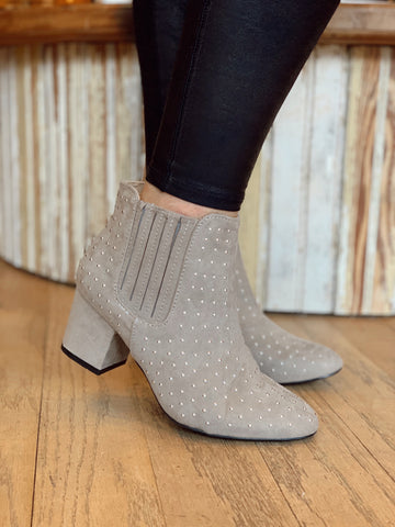 Tell Me About It Grey Stud Booties