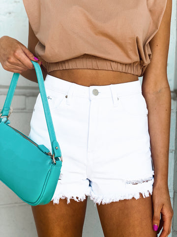 Hit The Beach White Denim Shorts