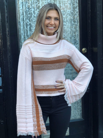 Retro Pink Stripe Turtle Neck Sweater