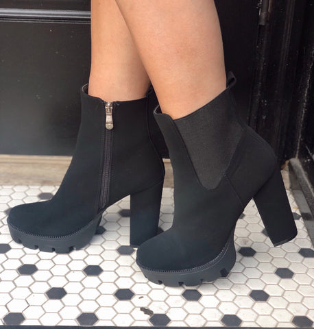 Attention Seeker Black Platform Bootie