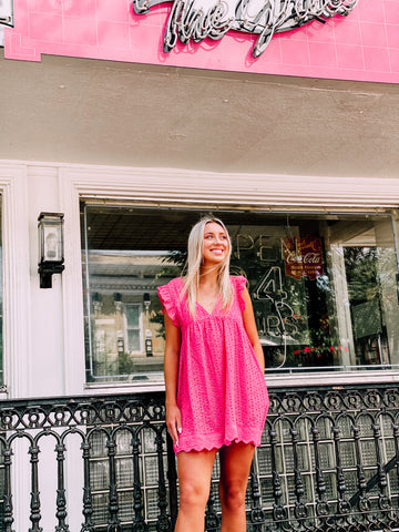 Keep A Secret Hot Pink Romper