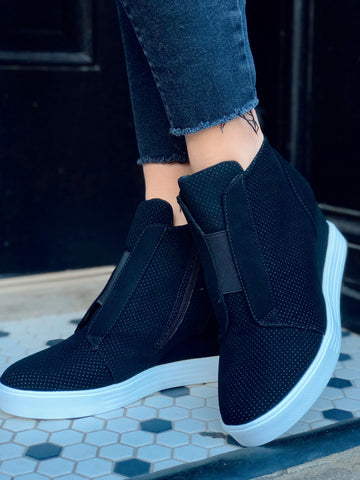 Sporty Spice Black Wedge Sneakers