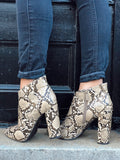 Mystery Lady Snakeskin Booties