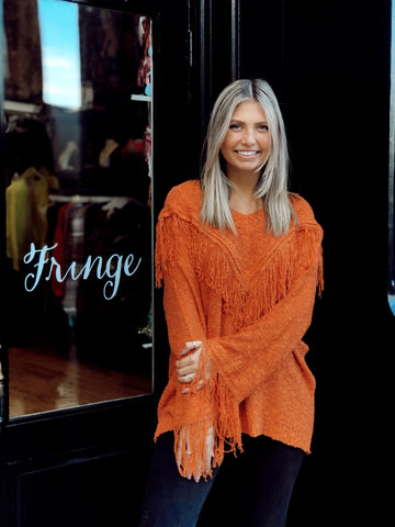 Fringe With Benefits Rust Orange Sweater