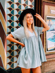 Fun In The Sun Dusty Blue Babydoll Dress