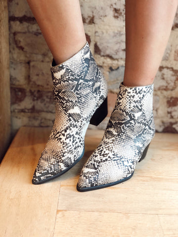 Hard To Miss Beige Snake Print Boots