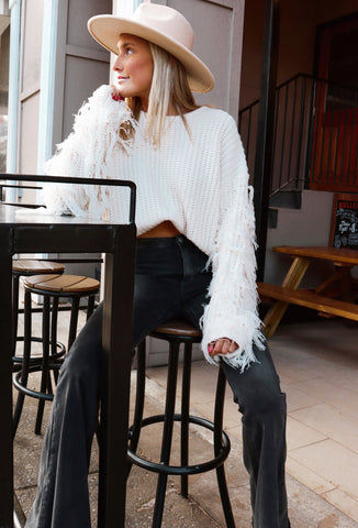 Fringe with Benefits Ivory Sweater