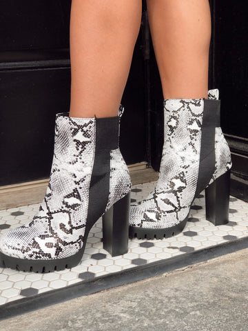 Center of Attention Snakeskin Platform Bootie