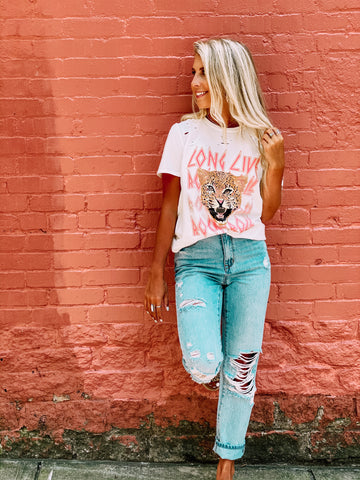 Long Live Rock n Roll White Distressed Tee