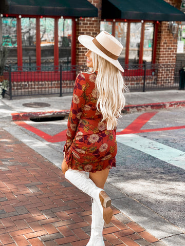 Catching Feelings Rust Floral Dress