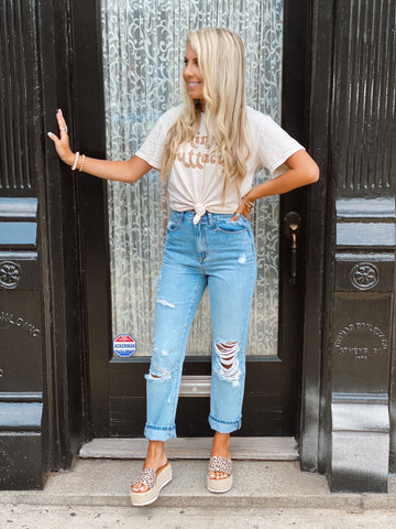 Distressed Diva Boyfriend Jeans
