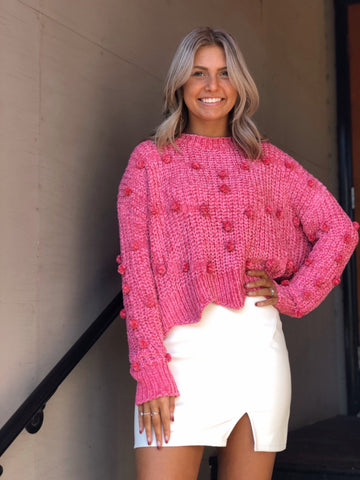 Pop Of Color Pink Chenille Pom Pom Sweater