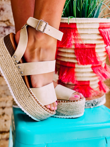 Step On The Wild Side Taupe Flatform Sandals