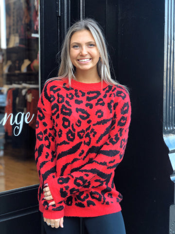 Spot On Red Leopard Print Sweater