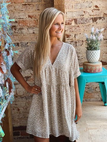 Be Free Beige Leopard Dress