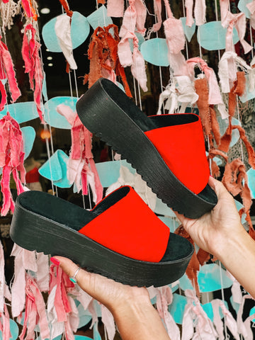The Medea Flatform in Red Suede