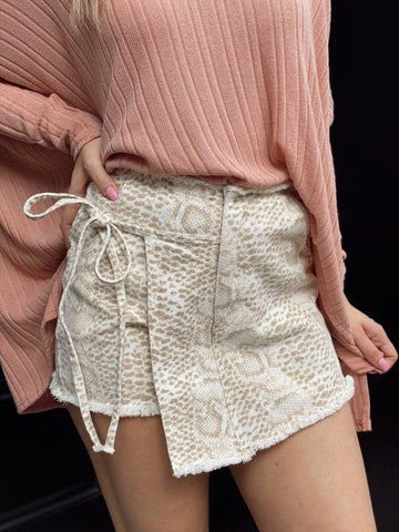 Simply Sophisticated Taupe Snakeskin Skort