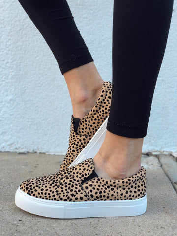 Shift The Ground Cheetah Slip On Sneakers
