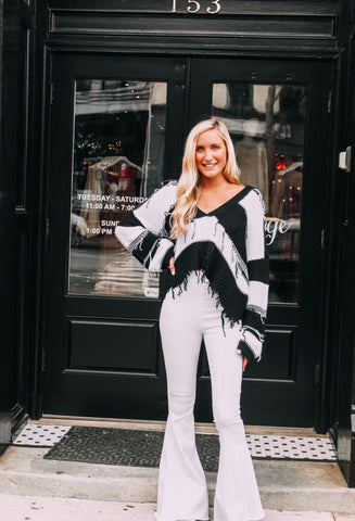 "The ""It"" Girl Black and White Striped Sweater"