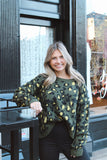 Cool Girl Vibes Green Leopard Sweater