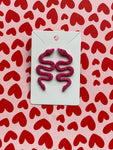 The Makenzie Pink Snake Earrings