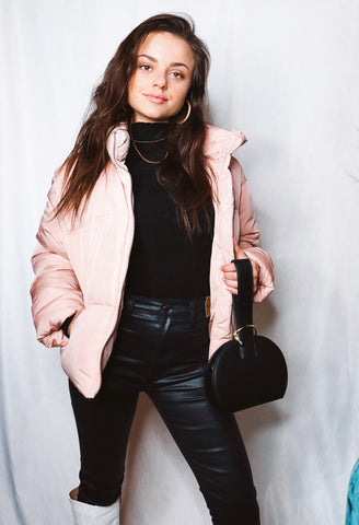 Hit The Bunny Slopes Rose Puffer Jacket