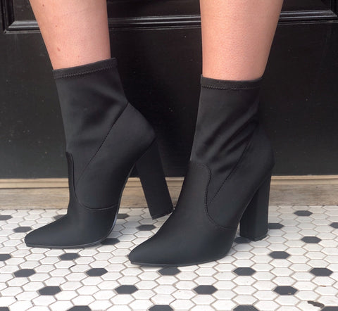 Boss Babe Black Sock Booties