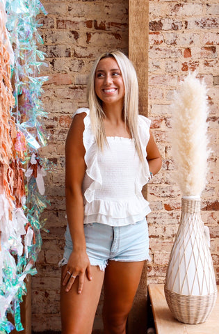 Not Your Babe White Ruffle Top