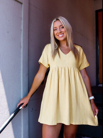 Sunset Summer Mustard Babydoll Dress