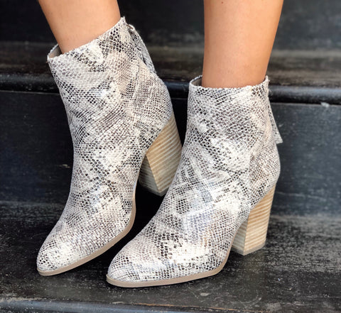 Above Average Snake Print Booties