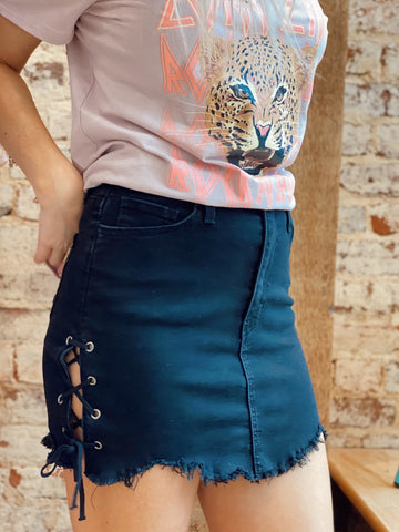 Laced In Sass Black Denim Skirt