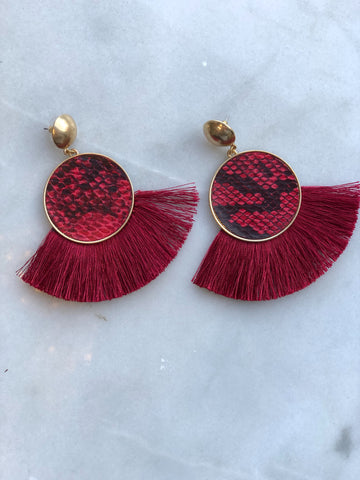 Go Dawgs Red Snake Earrings