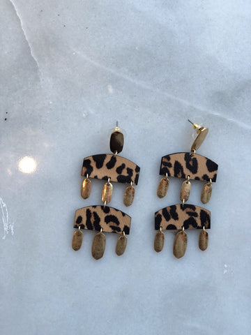 Layered Leopard Earrings