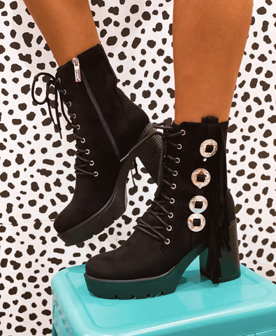 Walk The Line Black Fringe Booties