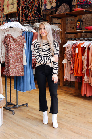 In The Wild Zebra Knit Distressed Sweater