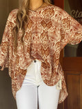 Business Babe Rust Snake Print Top