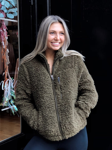 Cute and Cozy Olive Green Jacket
