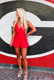 Showstopper Red Ruffle Romper