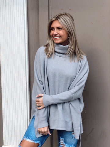 Cozy Vibes Grey Turtleneck Top