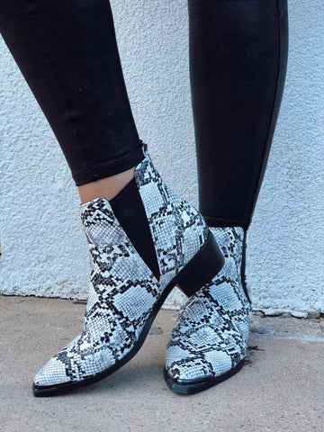 Wild Style Snake Print Booties