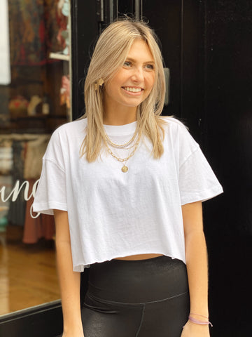 Chill Pill White Cropped Tee