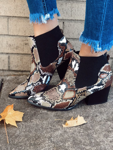 Hello It's Me Brown Multi Snake Ankle Booties