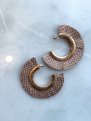 Brown and Gold Snake Skin Leather Hoops