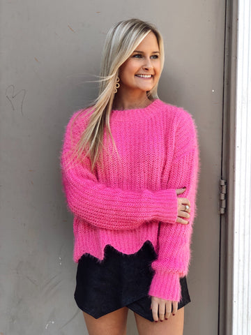 Feeling Fuzzy Hot Pink Sweater