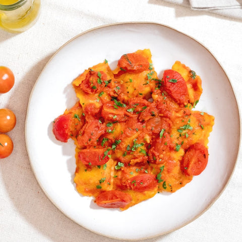 Sicilian Tuna Ravioli with Cherry Tomato Sauce