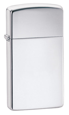 Frontansicht 3/4 Winkel Slim Chrome High Polished Zippo Feuerzeug